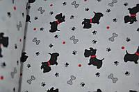"""Польская хлопковая ткань """"собачки черные с красными ошейниками на белом"""""""
