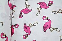 """Польская хлопковая ткань """"фламинго розовые на белом"""""""