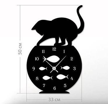 """Настенные часы """"Кот"""" (33x50 см) [Акрил, Открытые]"""