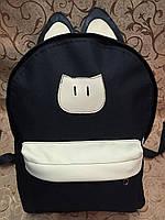 Рюкзак Котик молодежный, чёрный с кремовым