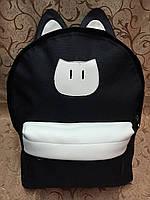 Рюкзак Котик молодежный, чёрный с белым