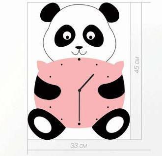 """Детские настенные часы """"Панда"""" (45х33 см) [Акрил, Открытые]"""