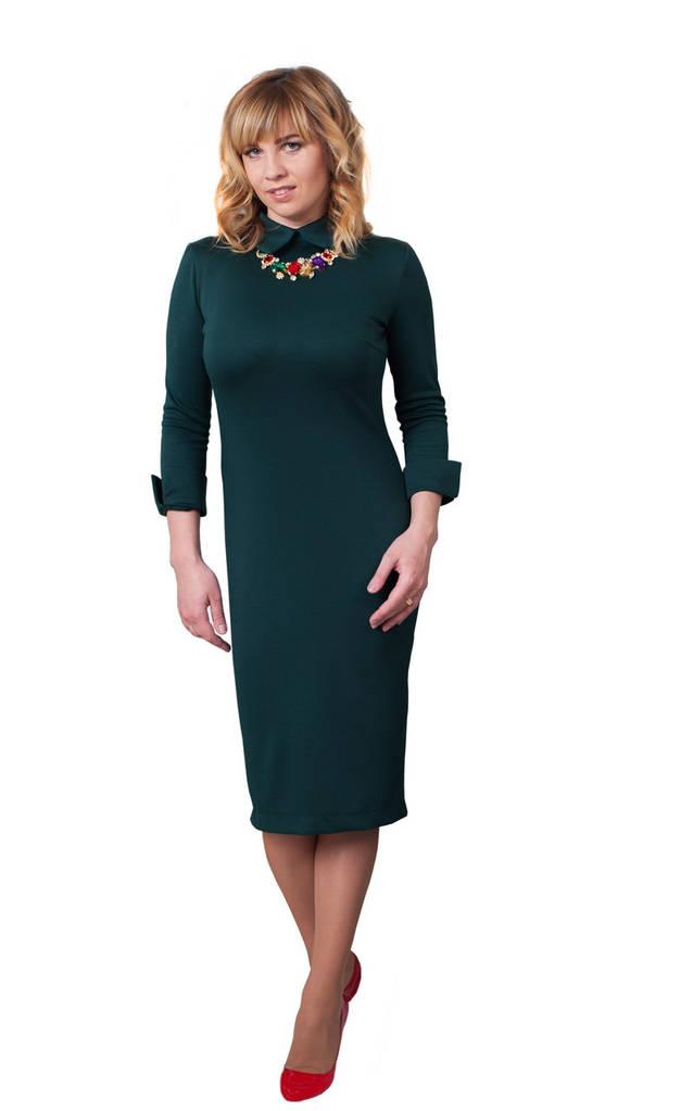 Платье Luxury 0226_5 Тёмно-зелёное