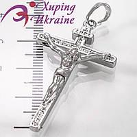 Подвеска родиум Тонкий Крест с распятием, линия камней (INRI) 3,5 см