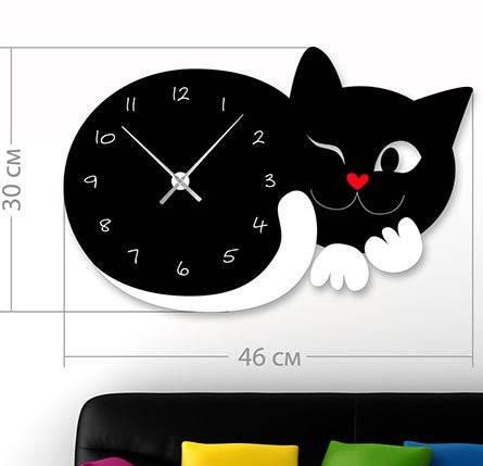 """Настенные часы """"Кот"""" (46x30 см) [Акрил, Открытые]"""