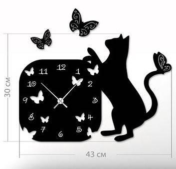 """Настенные часы """"Кот"""" (43x50 см) [Акрил, Открытые]"""