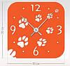 """Настенные часы """"Следы кошки"""" (30x30 см) [Акрил, Открытые]"""