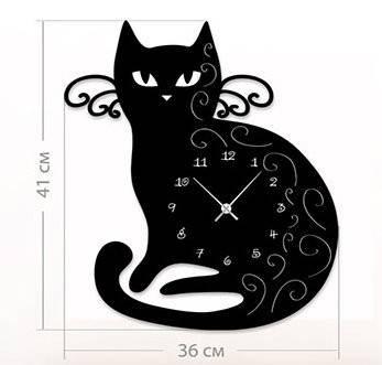 """Настенные часы """"Кот"""" (36x41 см) [Акрил, Открытые]"""