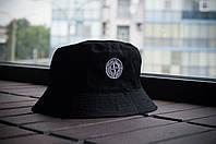 Панама Stone Island, шляпа мужская летняя панама Черный, белый