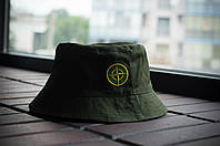 Панама Stone Island, шляпа мужская летняя панама олива, зеленый и желтый