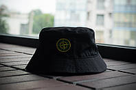 Панама Stone Island, шляпа мужская летняя панама Черный, зеленый и желтый