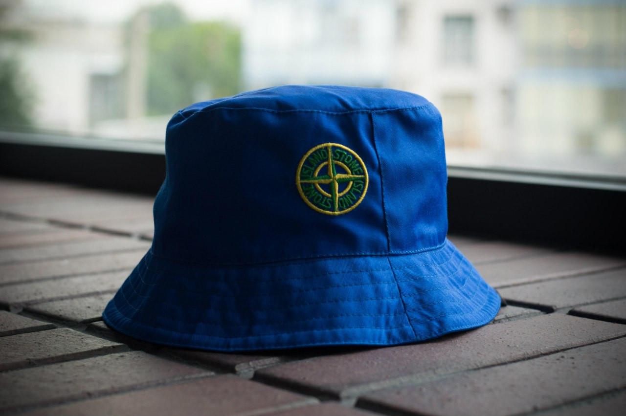 Панама Stone Island, шляпа мужская летняя панама синий, зеленый и желтый