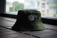 Панама Stone Island, шляпа мужская летняя панама олива, белый