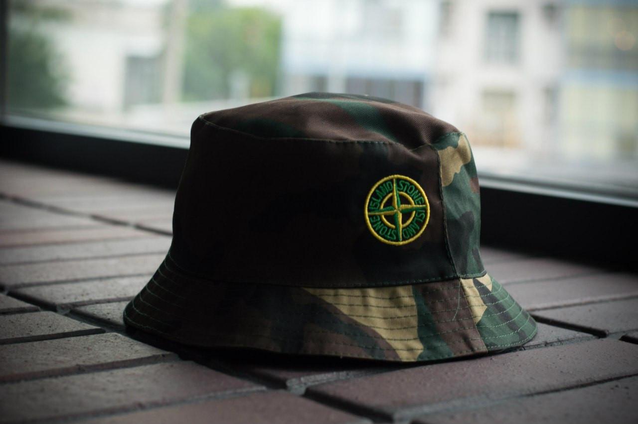 Панама Stone Island, шляпа мужская летняя панама камо, зеленый и желтый