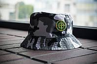 Панама Stone Island, шляпа мужская летняя панама камо зима, зеленый и желтый