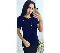 Блузка Бант темно-синяя , блузы женские