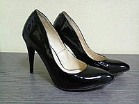 Лакированные кожаные женские туфли лодочки на каблуке
