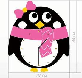 """Детские настенные часы """"Пингвин"""" (45х37 см) [Акрил, Открытые]"""