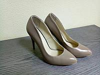 Кожаные женские туфли лодочки темный беж