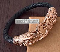 Шкіряний браслет з драконами натуральная шкіра сталь 316L