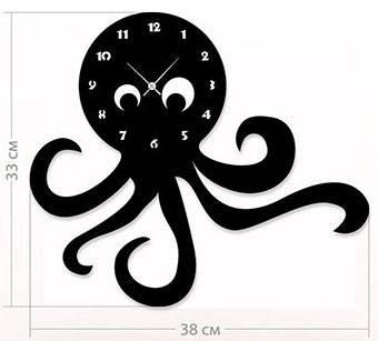 """Детские настенные часы """"Осьминог"""" (38x33 см) [Акрил, Открытые]"""