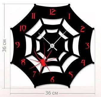 """Детские настенные часы """"Паутина"""" (36x36 см) [Акрил, Открытые]"""