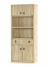 Шкаф книжный 4Д + 1Ш Валенсия (Мебель-Сервис)  910х445х2086мм дуб самоа