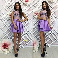 Стильное женское платье с ярусной юбкой и гипюровым верхом,цвет персик,сирень