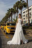 Модный свадебный брючный костюм с неповторимым топом и прицепным шлейфом