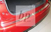 Защитная хром накладка на задний бампер (планка без загиба) Nissan Juke (ниссан жук 2010-2014)