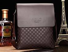 Стильная молодежная мужская сумка-планшет Polo, коричневая, Поло