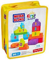 Конструктор Мега блокс Учимся считать с цифрами Mega Bloks 1-2-3 в сумочке 20 деталей