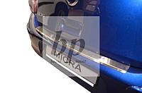Защитная хром накладка на задний бампер с загибом Nissan Micra IV 5D (ниссан микра 2010+) хетчбек