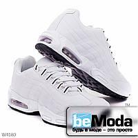 Модные кроссовки мужские white из качественной экокожи с черными петлями для шнуровки белые