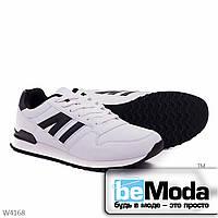 Оригинальные мужские кроссовки 24-35-3 white из качественной экокожи классического дизайна с черными вставками белые