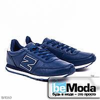 Удобные мужские кроссовки  blue из качественной экокожи с декоративной нашивкой в виде буквы N на боку синие