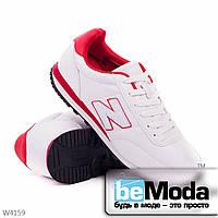 Удобные мужские кроссовки  white red из качественной экокожи с декоративной нашивкой в виде буквы N на боку белые с красным