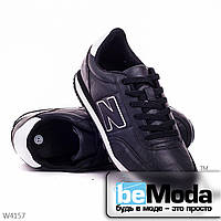 Удобные мужские кроссовки  black из качественной экокожи с декоративной нашивкой в виде буквы N на боку черные
