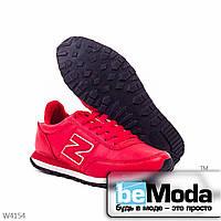 Модные женские кроссовки red из качественной экокожи с декоративной нашивкой в виде буквы N на боку  красные