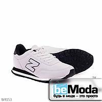 Модные женские кроссовки white black из качественной экокожи с декоративной нашивкой в виде буквы N на боку белые с черным