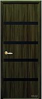 Дверь КВАДРА НОТА экошпон: венге 3D, дуб жемчужный, кедр, ясень патина, сандал (черное зеркало) тип1