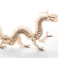 """Развивающий деревянный конструктор 3D пазл """"Дракон"""" (оригинальная сборная объемная модель из дерева)"""