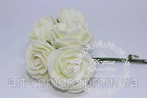 "Роза из фома ""капуста"" молочная, 4 см, 6 цветков в наборе"