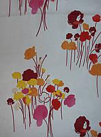 """Тюль органза с принтованным рисунком """"Полевые цветы"""" красно-оранжевая"""