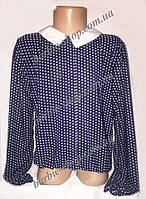 Стильная детская блуза синего цвета в горошек 1132