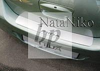 Защитная хром накладка на задний бампер (планка без загиба) Nissan Tiida 4D (ниссан тиида 2007+) седан
