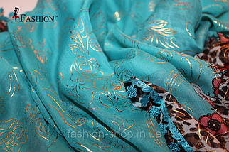 Женский платок Весна Голубой, фото 3