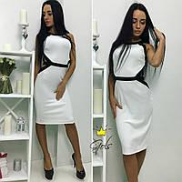 Красивое женское платье приталенное,ткань креп-дайвинг,цвет черно-белое,бело-черное