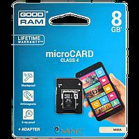 Карта памяти Goodram MicroSDHC 8GB Class 4 + SD-adapter (M40A-0080R11)