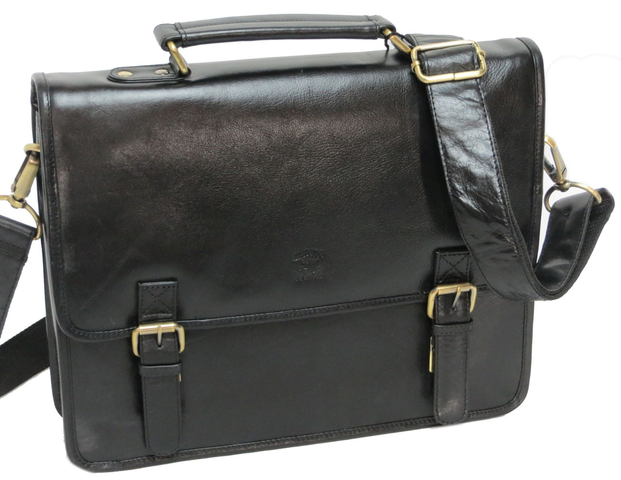 Элегантная сумка-портфель из натуральной кожи Always Wild 16921 черная 36х29х8 см.